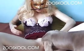Big pet fucks blonde woman