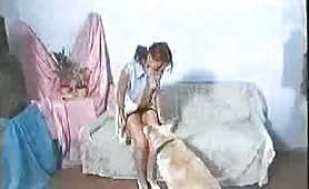 Tiny teen mounted by dog